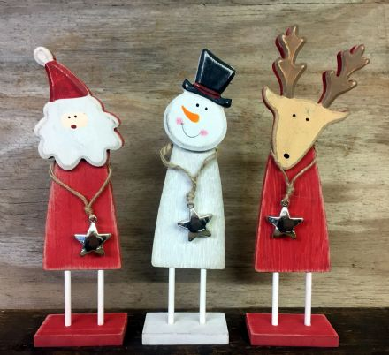 Cute Wooden Rustic Christmas Ornaments - Set of 3 Santa Snowman & Reindeer